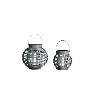 Bollman Rattan Grey Solar Powered LED Outdoor Hanging Light By Williston Forge
