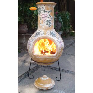 Grapes Clay Wood Burning Chiminea By Gardeco