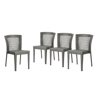 Emrich Outdoor Wicker Patio Dining Chair (Set of 4)