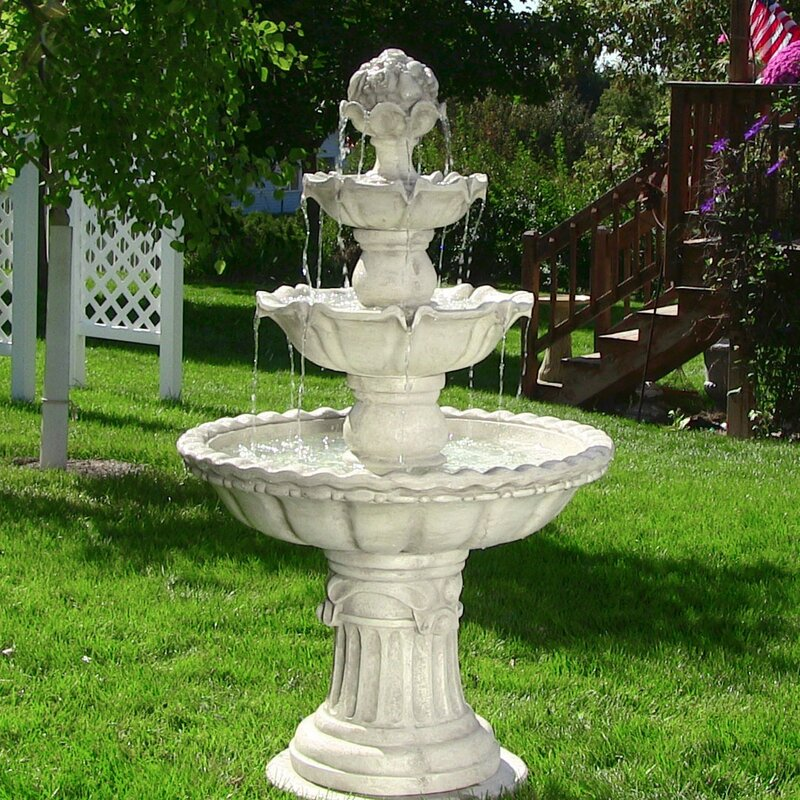 dunkle fiberglass 4 tier electric water fountain - Garden Water Fountains