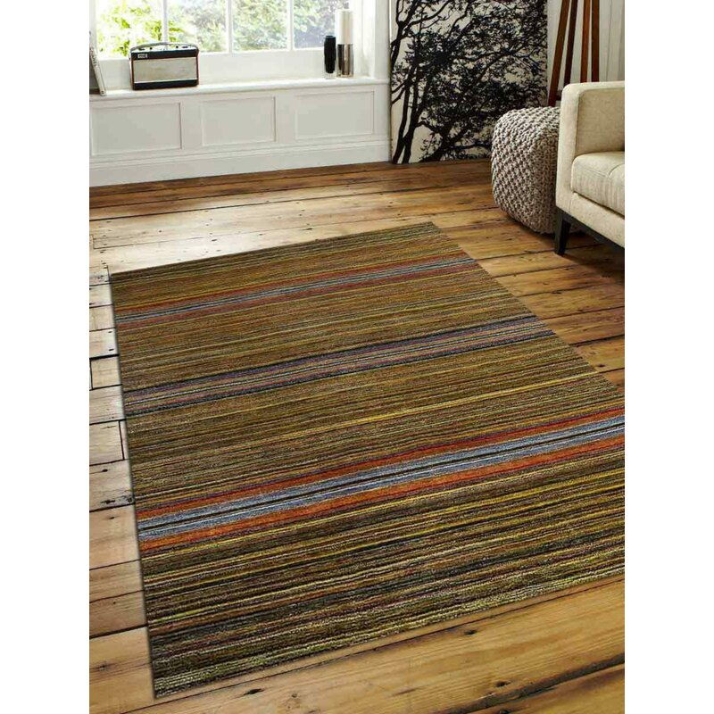 Millwood Pines St Catherine Striped Hand Knotted Wool Brown Area Rug Wayfair