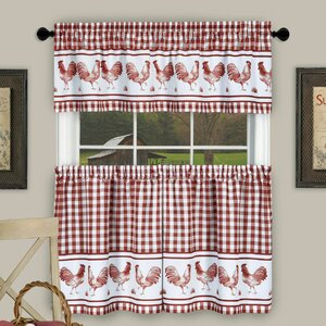 Harville Plaid Rooster Kitchen Curtain