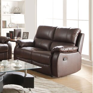Malave Leather Reclining Loveseat by Red ..