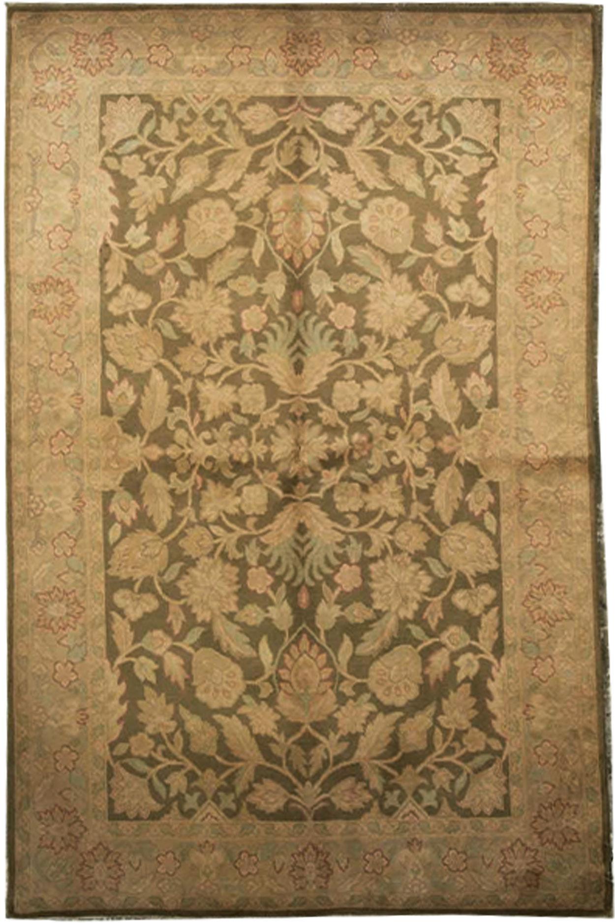 Bokara Rug Co Inc Savonnerie Oriental Hand Knotted Wool Brown Area Rug Wayfair