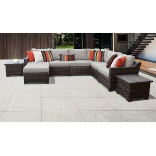 Kathy Ireland Homes Gardens River Brook 9 Piece Outdoor Wicker Patio Furniture Set 09b