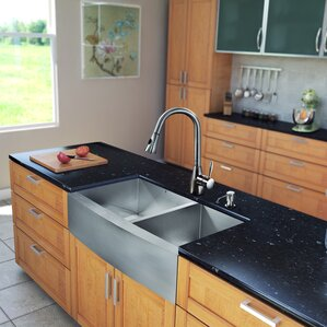 VIGO 36 inch Farmhouse Apron 60/40 Double Bowl 16 Gauge Stainless Steel Kitchen Sink with Aylesbury Stainless Steel Faucet...
