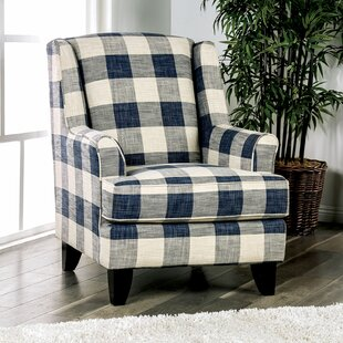 Mandalay Checkered Wingback Chair by Canora Grey