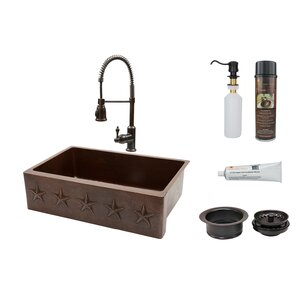 Single Basin Kitchen Sink 33 X 22 Anzzi vanguard 23 x 18 single bowl undermount kitchen sink with premier copper products star 33 x 22 apron single basin kitchen sink with faucet workwithnaturefo