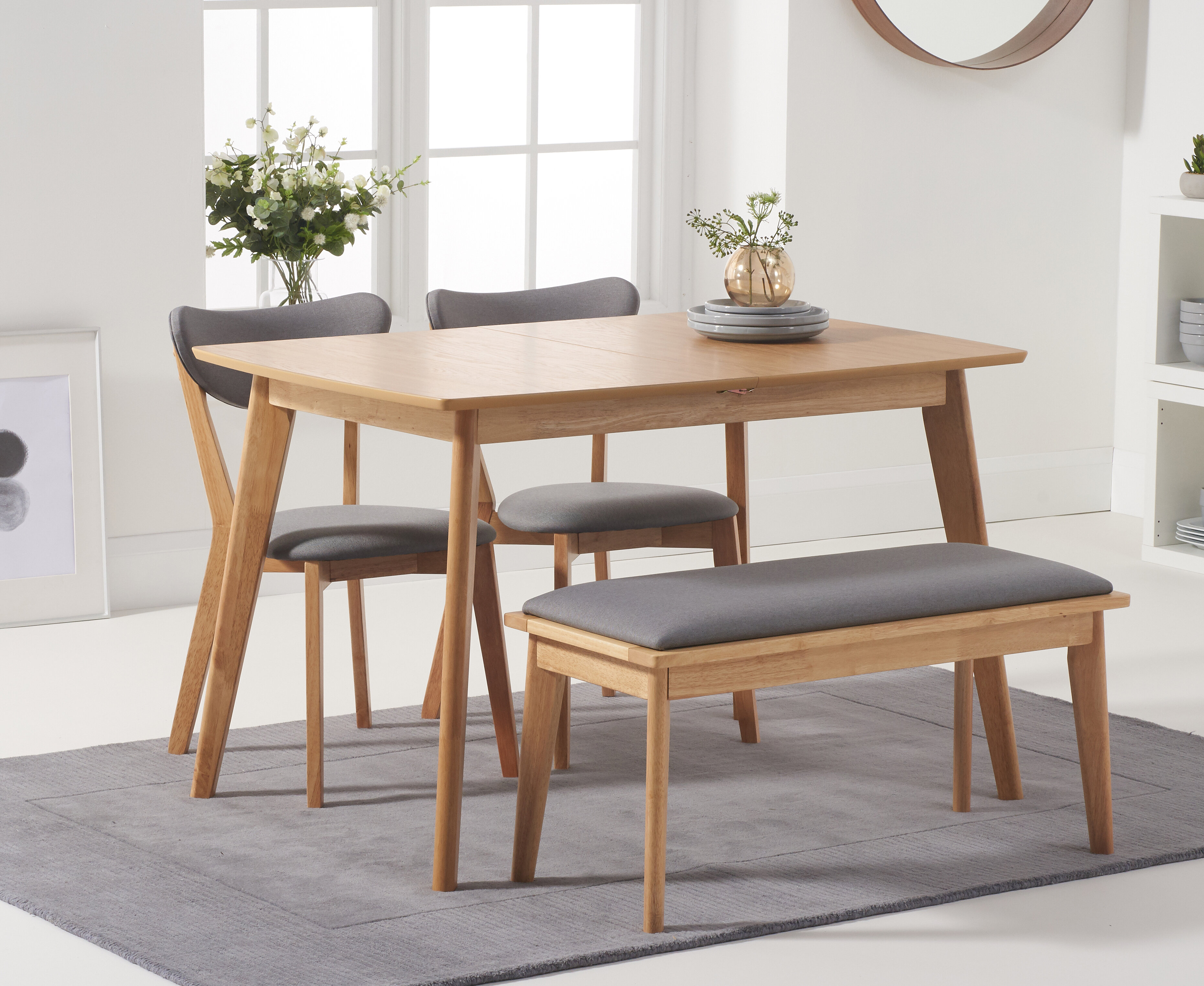 Lowville Extendable Dining Set With 2 Chairs And One Bench
