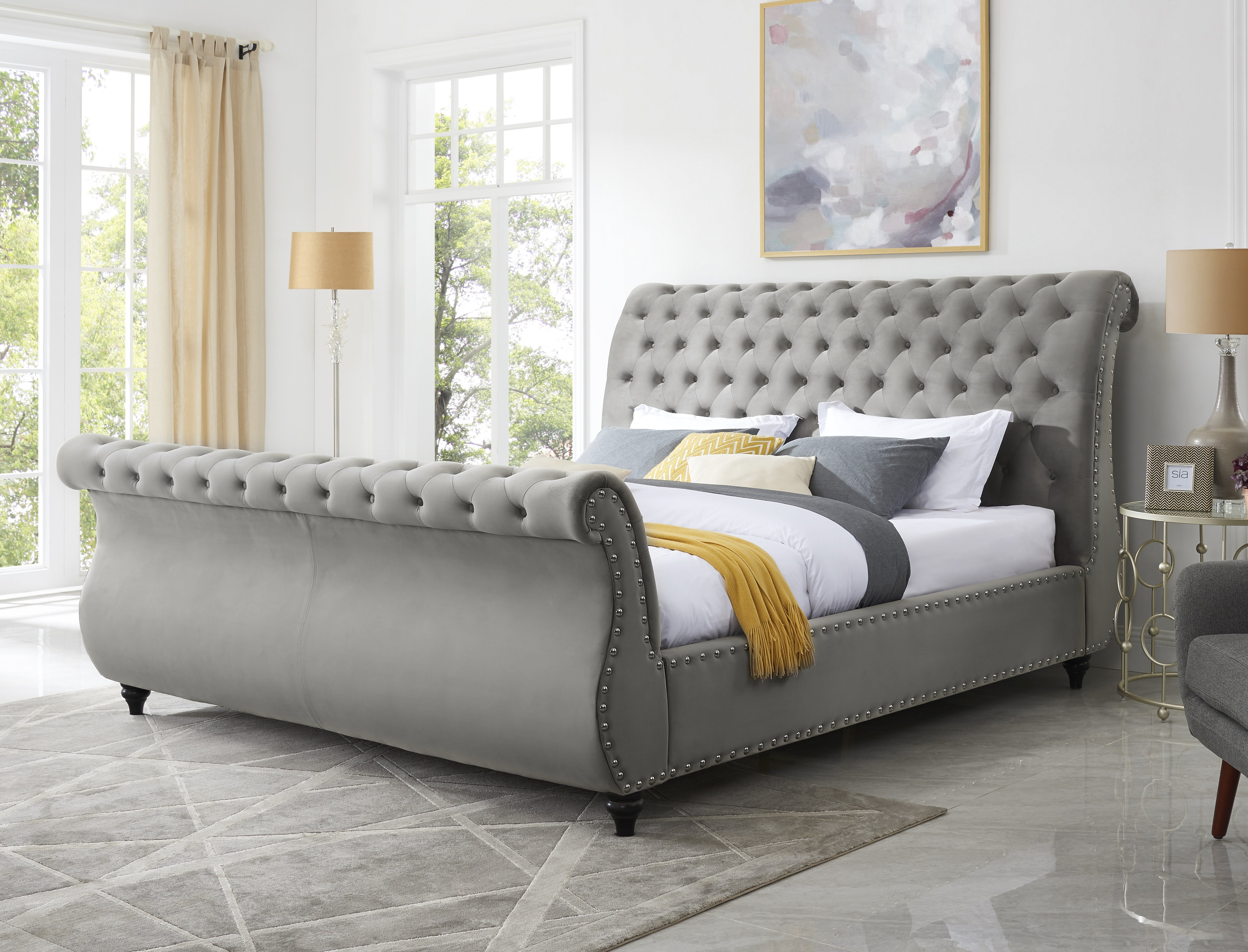 Grey Velvet Beds You Ll Love In 2020