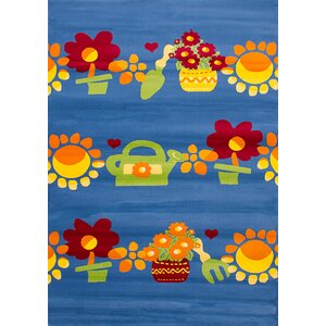Luann Blue Flowers Area Rug