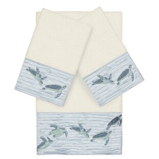 Swick Embellished 3 Piece Turkish Cotton Towel Set