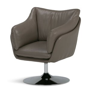 Simpli Home Jasper Air Leather Swivel Barrel Chair