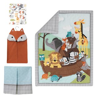Reviews Two of a Kind Noah's Ark Animals 4 Piece Crib Bedding Set By Lambs & Ivy Signature