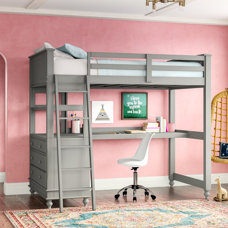 Harriet Bee Javin Loft Bed With Desk Amp Reviews Wayfair