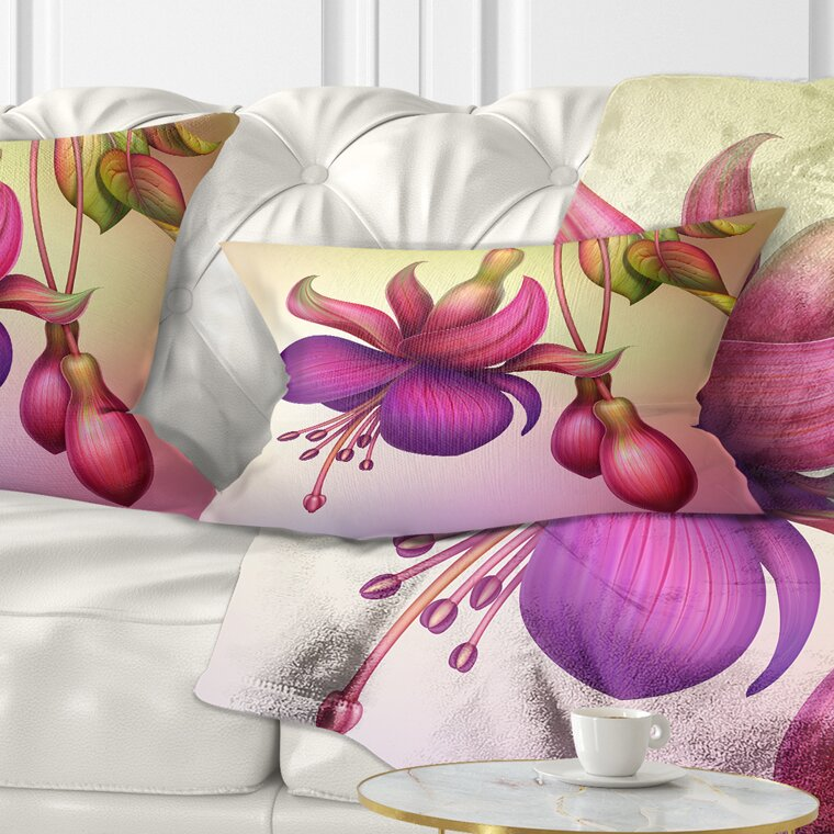East Urban Home Fuchsia Flowers With Leaves Floral Lumbar Pillow Wayfair
