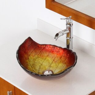 Elite Hot Melted Summer Leaf Shaped Bowl Specialty Glass Specialty Vessel Bathroom Sink