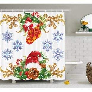 Affordable Price Christmas Stocking Santa Hat Shower Curtain By The Holiday Aisle