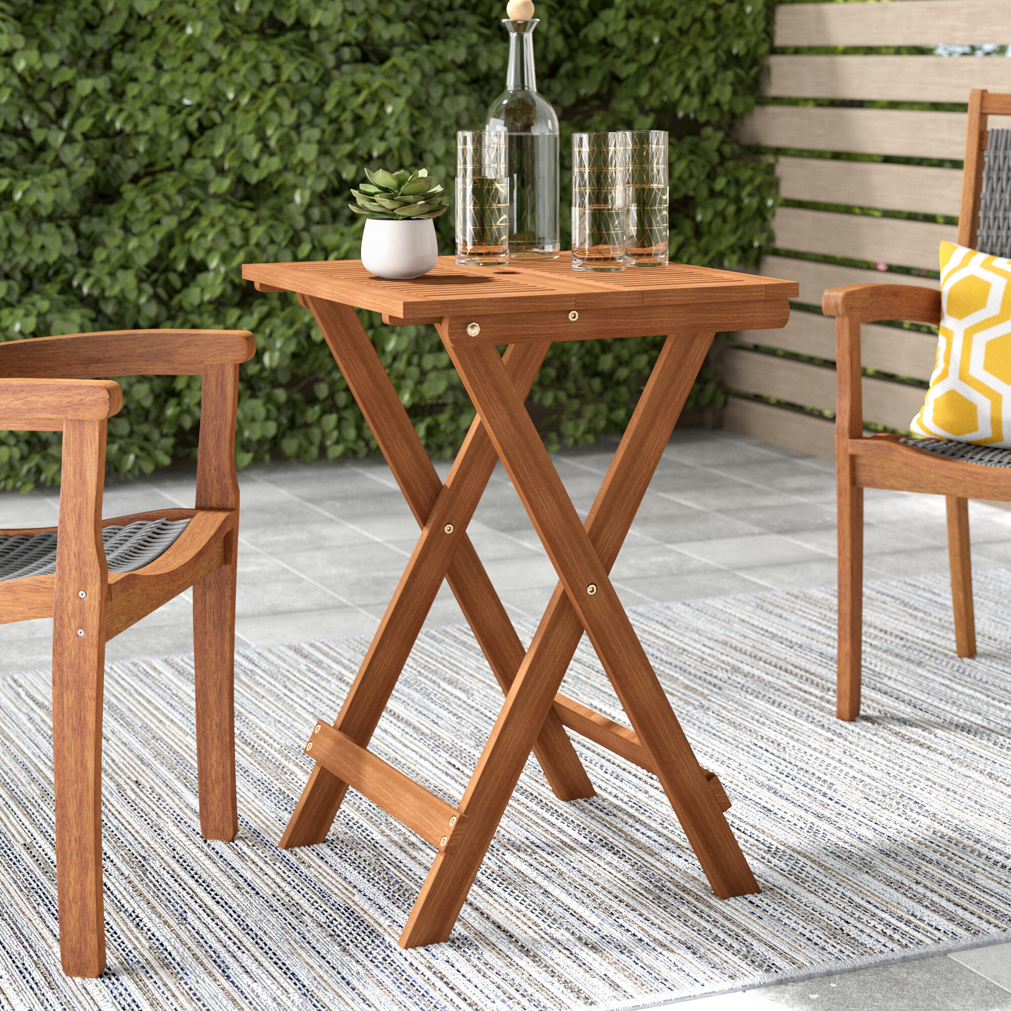 Millwood Pines Fina Folding Solid Wood Bistro Table Reviews Wayfair