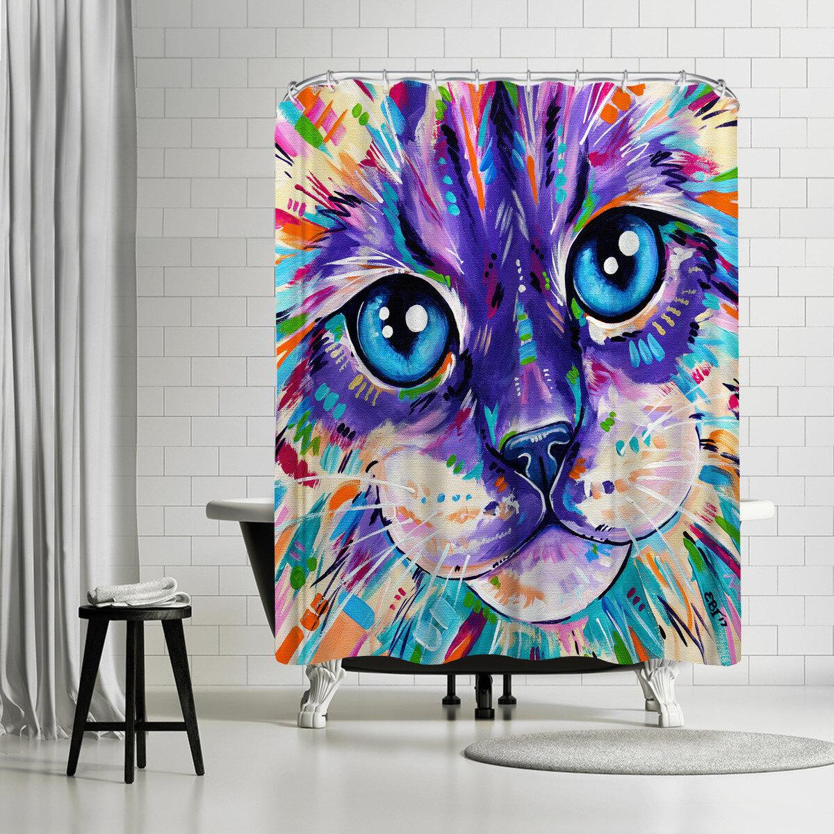 East Urban Home Eve Izzett Cats Single Shower Curtain Wayfair
