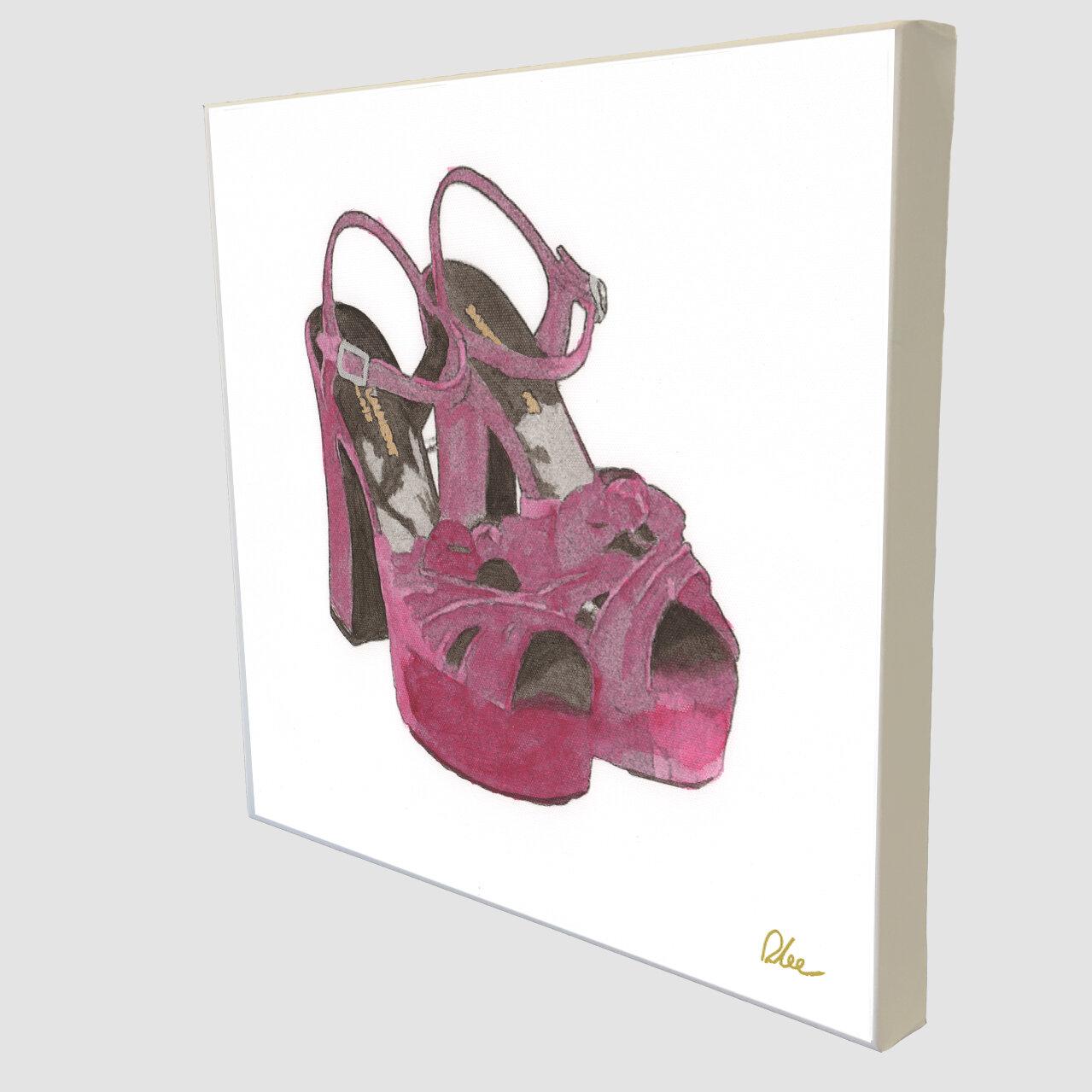 East Urban Home Fashion Purple High Heels Art Print Wrapped On Canvas Wayfair Co Uk