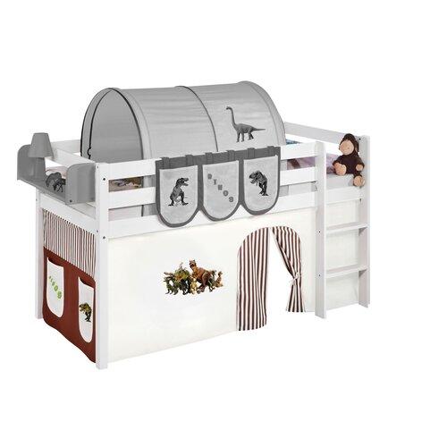 Halbhochbett Cutshall mit Hochbettvorhang  90cm x 190cm | Kinderzimmer > Kinderbetten | Braun / beige | Massivholz - Kiefer - Lackiert - Baumwolle - Holz | Roomie Kidz