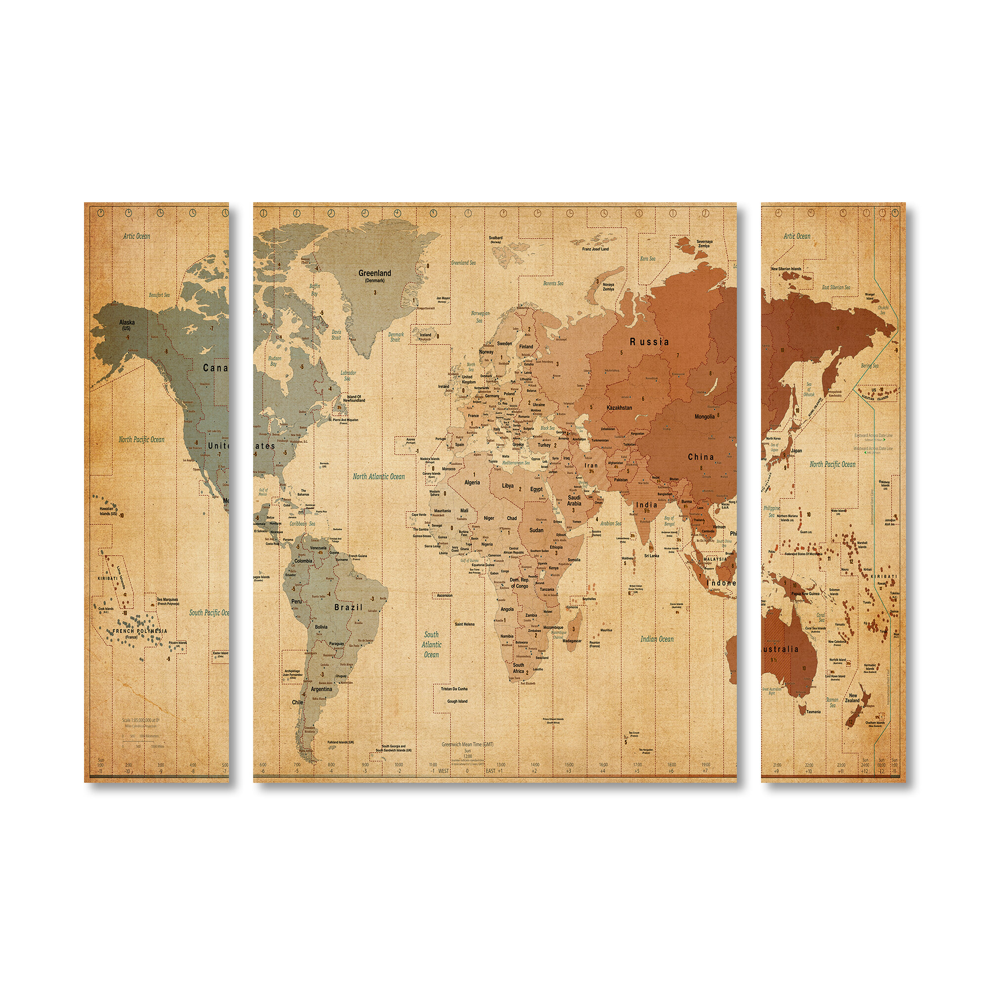 Trademark Art \'Time Zones World Map\' by Michael Tompsett 3 Piece ...