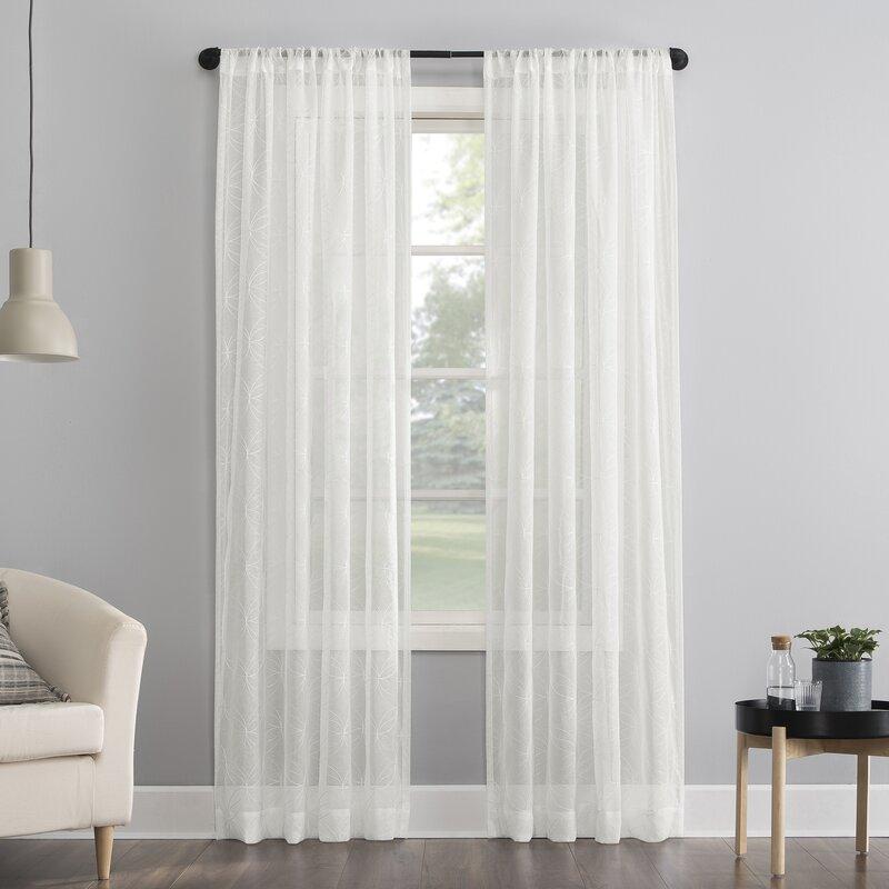 Tamaryn Geometric Sheer Rod Pocket Single Curtain Panel