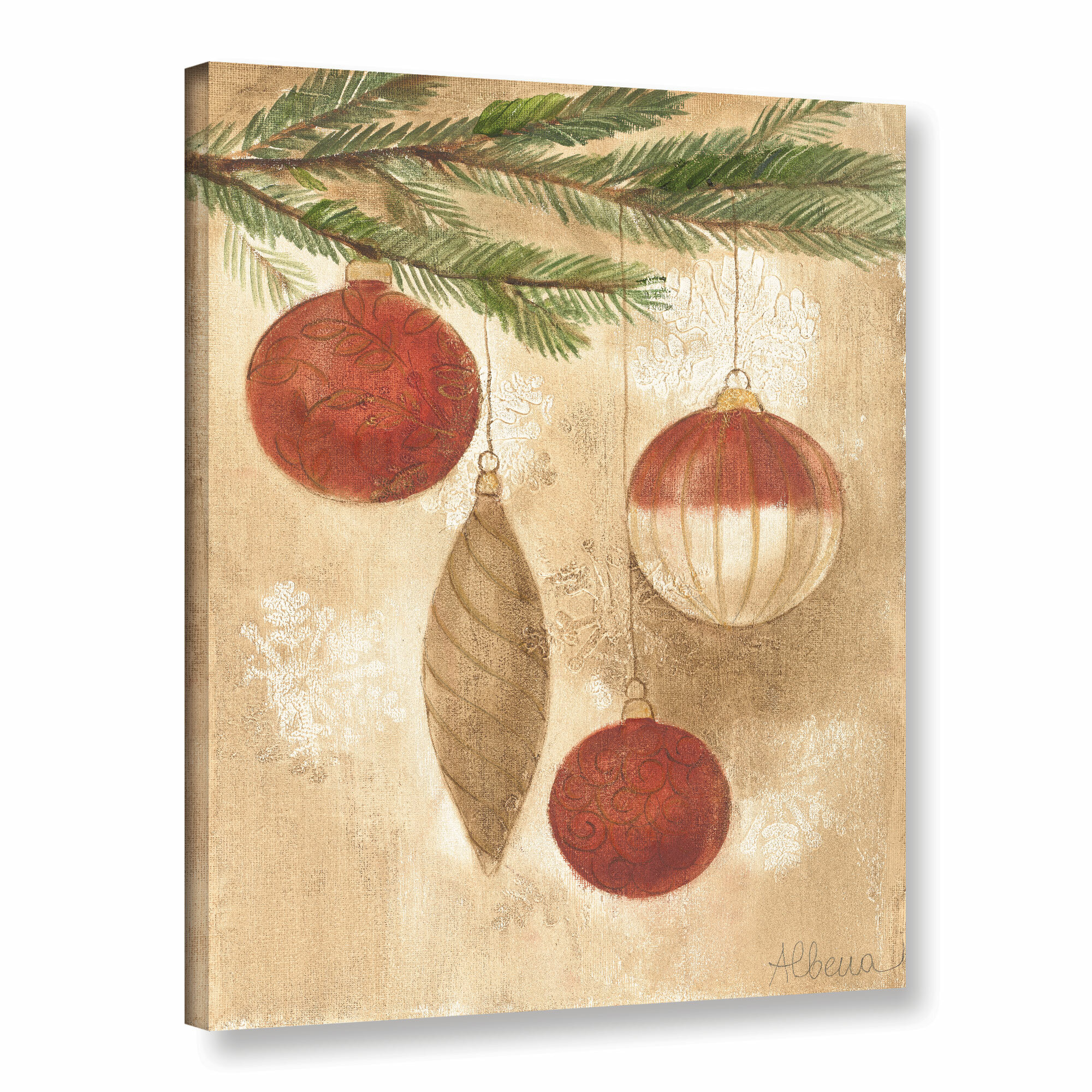 Artwall Christmas Ornaments By Albena Hristova Painting Print On Wrapped Canvas Reviews Wayfair