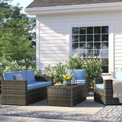Stupendous Sol 72 Outdoor Arlington 4 Piece Rattan Sofa Seating Group Lamtechconsult Wood Chair Design Ideas Lamtechconsultcom