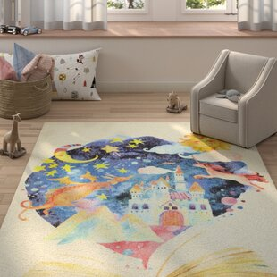 Engler Tell Me A Story Beige/Blue Area Rug. By Zoomie Kids