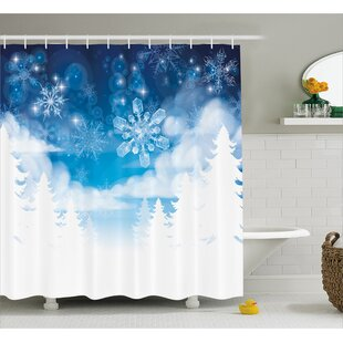 Winter Ations Christmas Trees Setting With Snowflakes And Stars New Year Graphic Image Shower Curtain Hooks