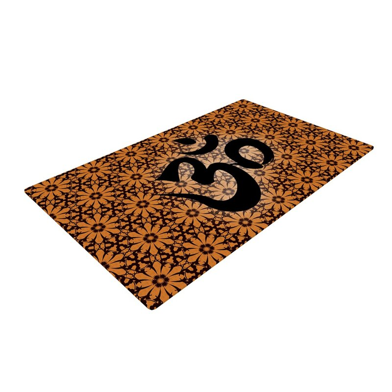 Om Black Orange Area Rug