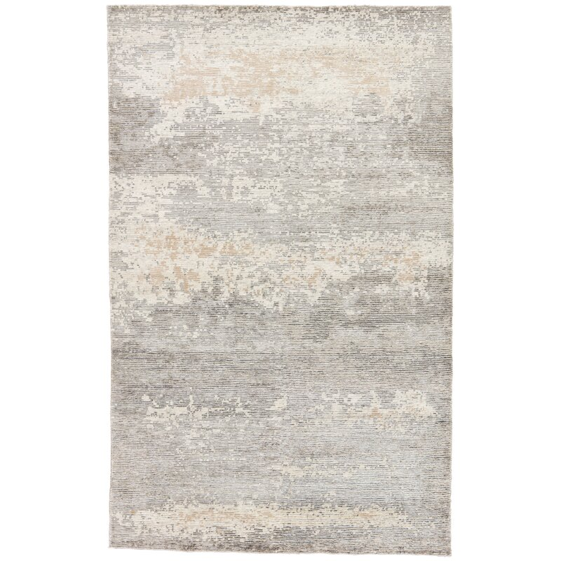 17 Stories Froehlich Abstract Hand Knotted Gray White Area Rug Wayfair