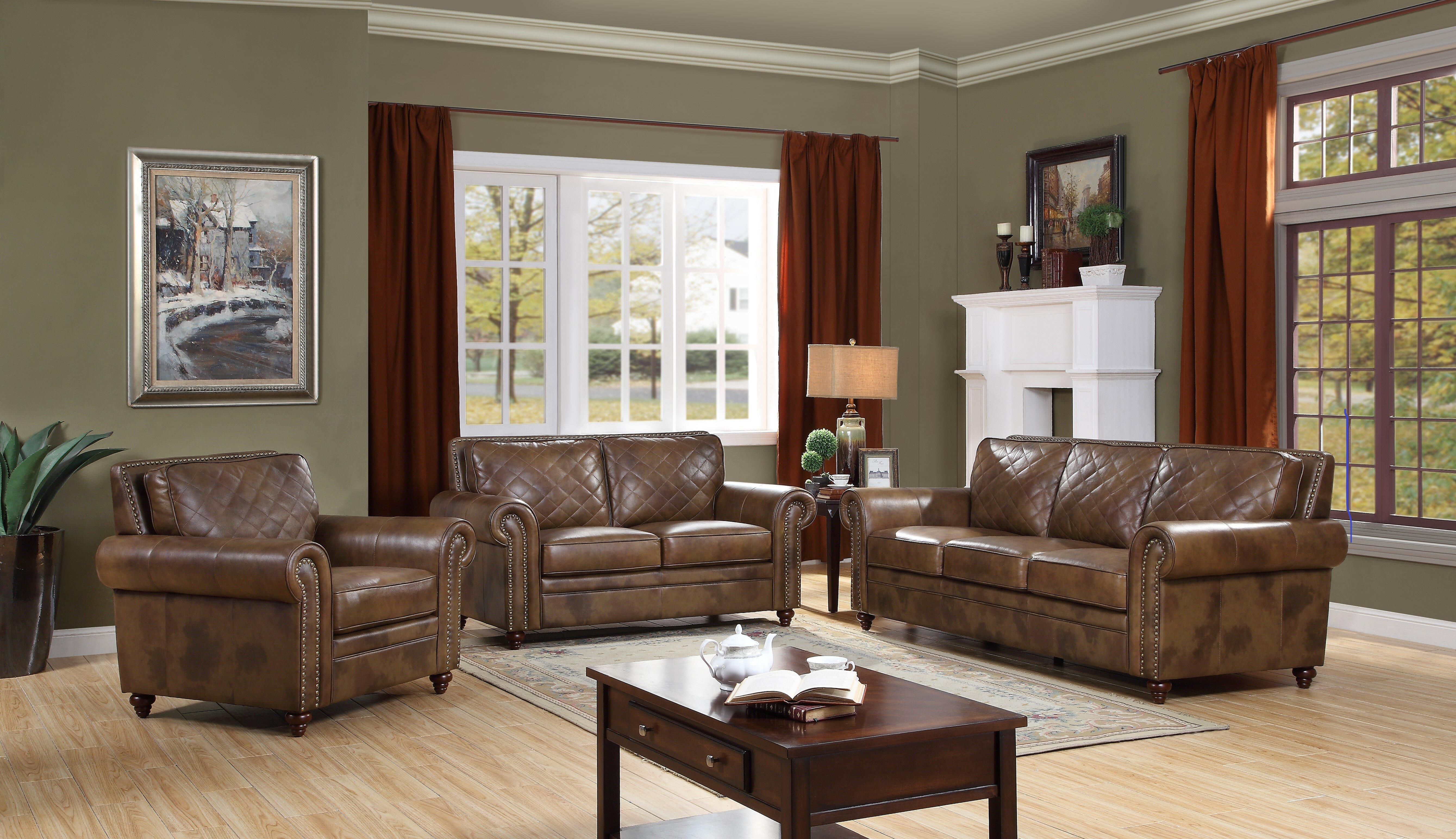Darby Home Co Drexler 3 Piece Leather Living Room Set Wayfair