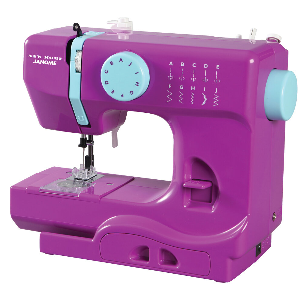Janome Sewing Machine 10 Stitch Beginner Professional Sewer Craft Portable Pink