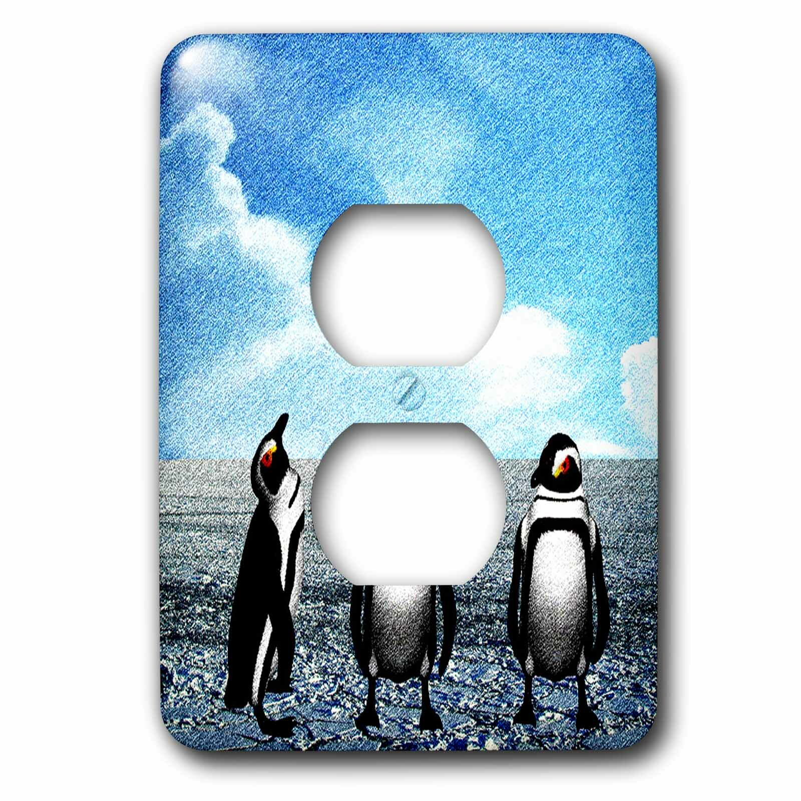 3drose Penguins On An Ice Flow Sketch 1 Gang Duplex Outlet Wall Plate