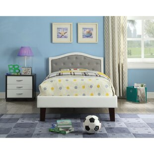 Sumpter Transitional Wood and Leatherette Twin Upholstered Panel Bed