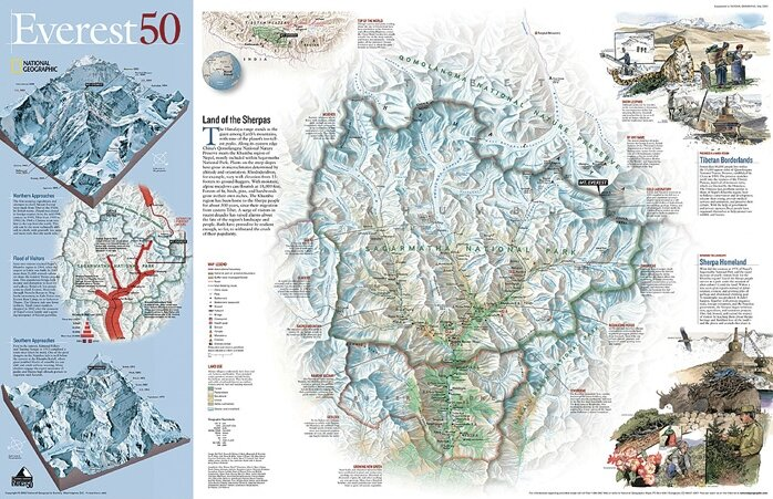 National Geographic Maps Mount Everest 50th Anniversary Wall Map ...