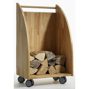 Lucy Firewood Storage Cart Made Of Solid Wood By Ebern Designs