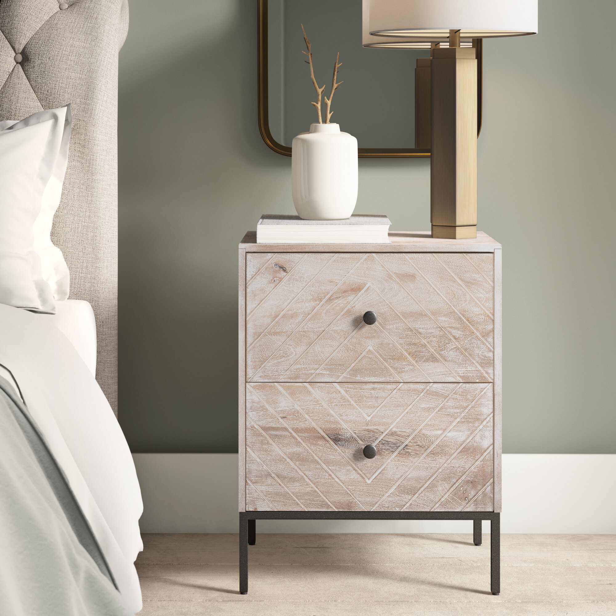 Foundry Select Hatton 2 Drawer Metal Nightstand In Beige Reviews Wayfair