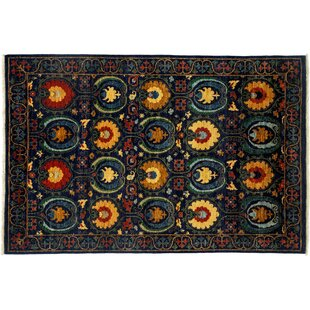 Great choice One-of-a-Kind Suzani Hand-Knotted Black Area Rug ByDarya Rugs