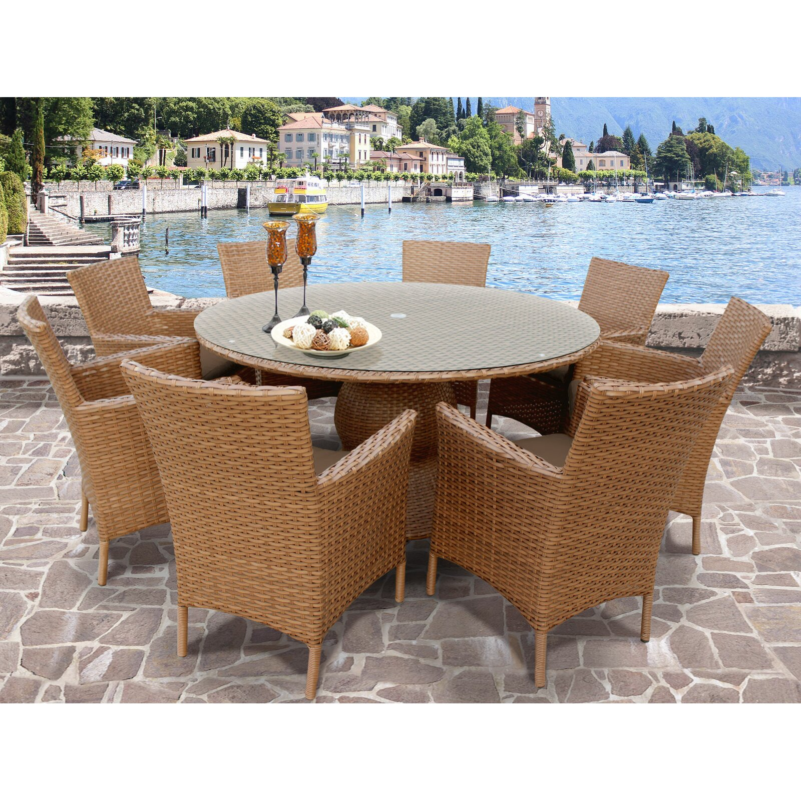 Resistant rattan effect outdoor patio dining set with round table - Laguna Patio Dining Set