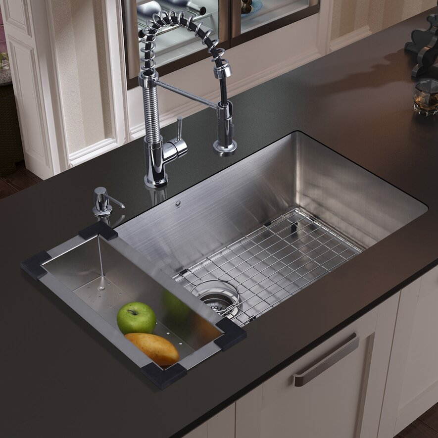 30 inch undermount single bowl 16 gauge stainless steel kitchen sink with edison chrome faucet - Stainless Steel Kitchen Sink Gauge
