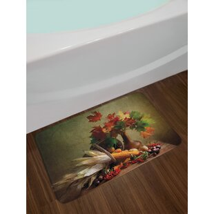 Compare Harvest Photograph from Death of the Nature Season Fall Vegetables and Leafs Wooden Table Bath Rug ByEast Urban Home