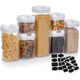 Food Storage Containers, Set Of 7 Heavy Duty Airtight Pantry Organizer Bins