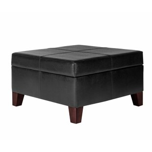 Rozlynn Leather Tufted Storage Ottoman by Ivy Bronx