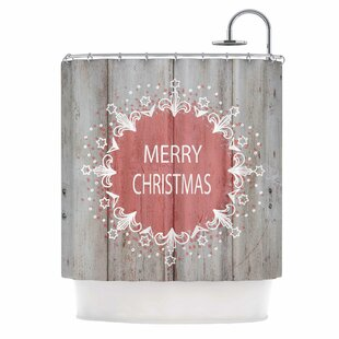 'Merry Christmas Pink' Typography Single Shower Curtain