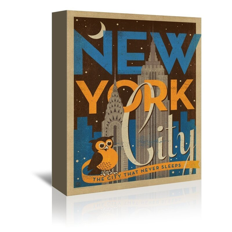 East Urban Home New York City Night Owl Vintage Advertisement On Gallery Wrapped Canvas Wayfair