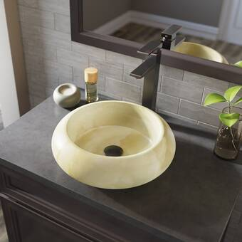 Mrdirect Honey Stone Circular Vessel Bathroom Sink With Faucet Wayfair